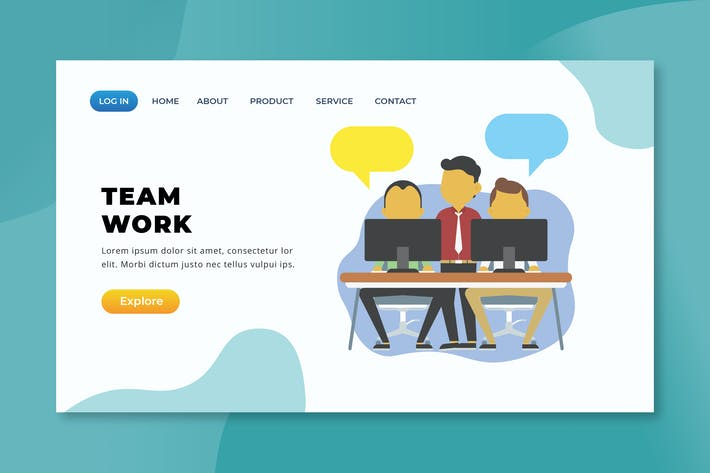 Thumbnail for Team Work - XD PSD AI Vector Landing Page