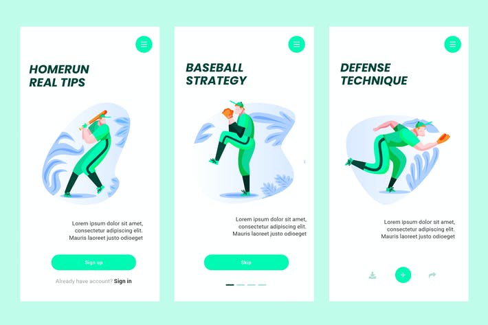 Thumbnail for Onboarding Screen For Baseball Apps PSD and AI