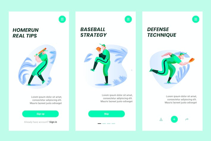 Cover Image For Onboarding Screen For Baseball Apps PSD and AI