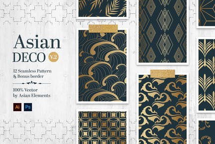 Asian Deco Vol.2 : Seamless Art Deco Pattern