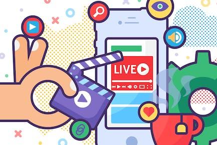 Mobile Live Stream Illustration