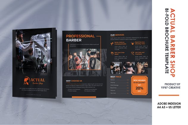 Barbershop Salon Bifold Brochure