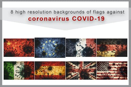 Collection of coronavirus COVID-19 against flags
