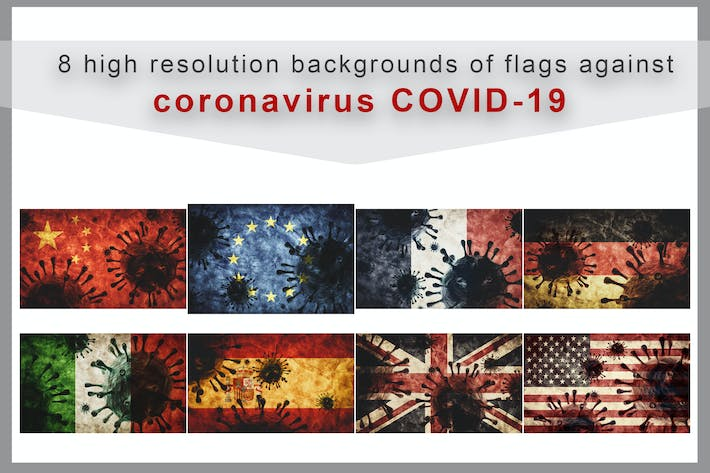 Thumbnail for Collection of coronavirus COVID-19 against flags