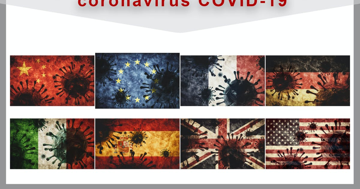 Download Collection of coronavirus COVID-19 against flags by photocreo