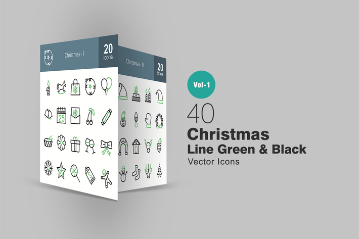 Thumbnail for 40 Christmas Line Green & Black Icons