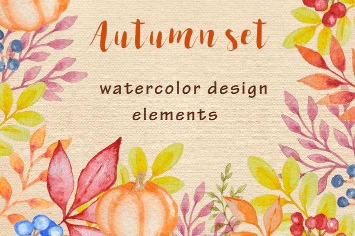 Thumbnail for Watercolor Autumn Design Kit
