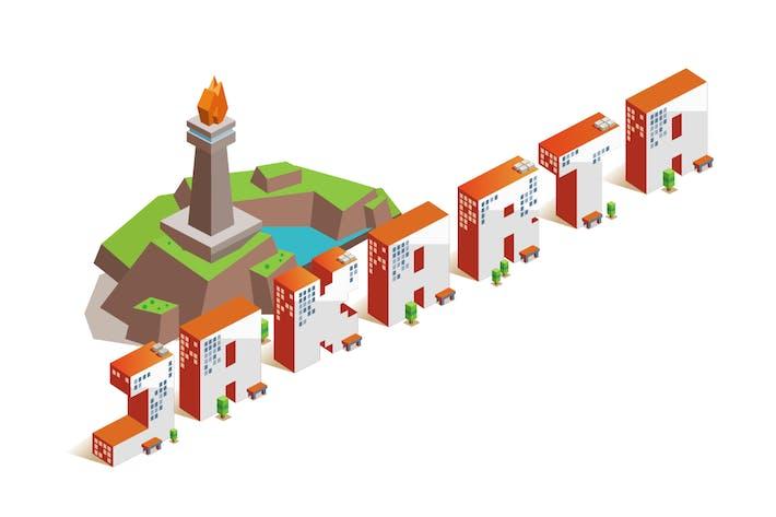 Thumbnail for Jakarta city isometric text flat vector