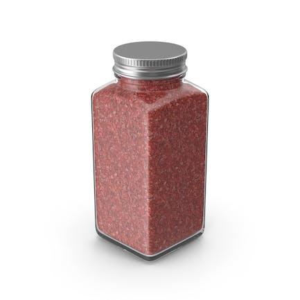 Tarro de especias rojo sin etiqueta