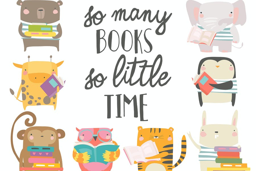Вектор набор мультфильм животных читать книги