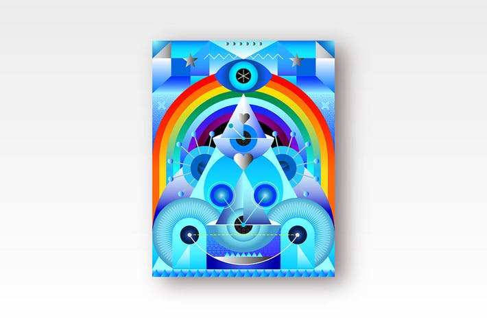 Thumbnail for Blue Ice and Rainbow abstract art composition