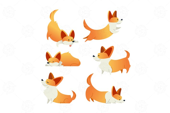 Thumbnail for Dog - modern vector set of cartoon characters