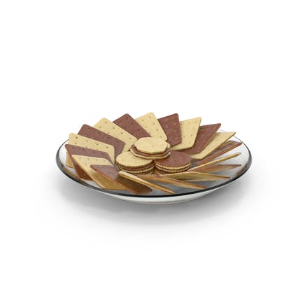 Plate with Organised Chocolate Covered Crackers