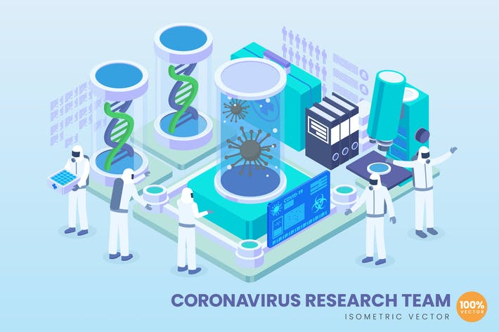 Thumbnail for Isometric Corona Virus Research Team Vector
