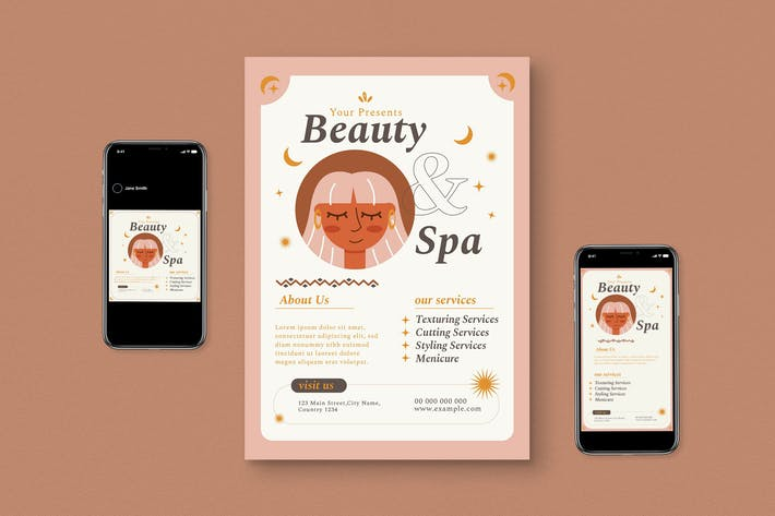 Beauty & Spa Roll Up Banner Flyer Set