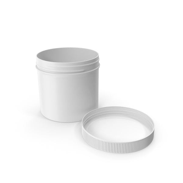 White Plastic Jar Wide Mouth Straight Sided 12oz Cap Laying