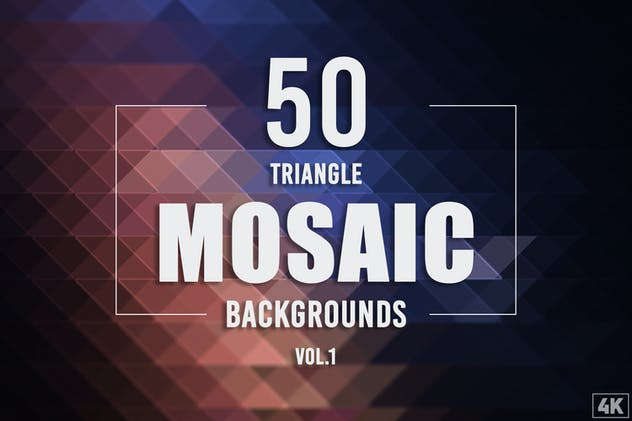 50 Triangle Mosaic Backgrounds - Vol. 1