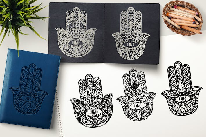 Thumbnail for Hamsa Hand Cliparts Set