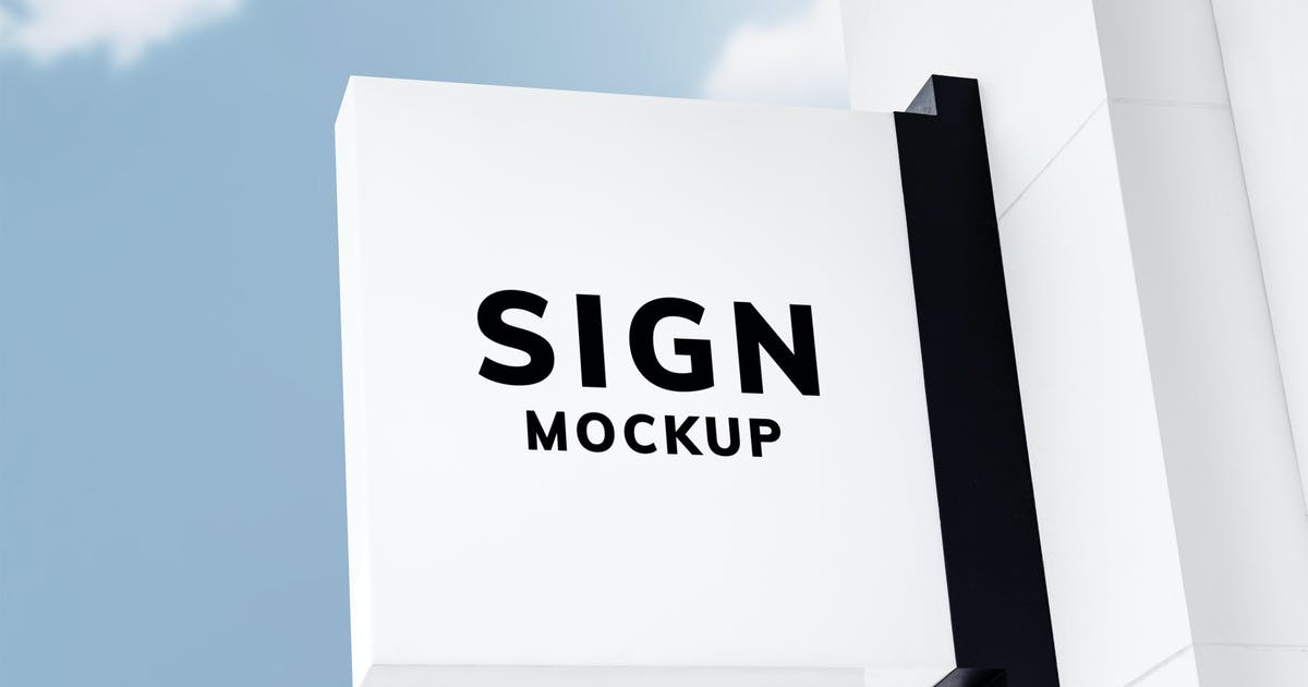 Download White sign mockup in vintage style against the sky by Rawpixel