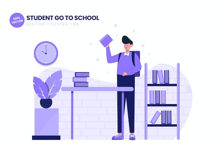 Student Go To School Flat Vector Illustration