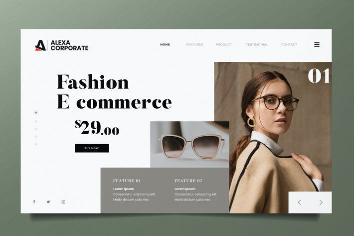Thumbnail for Fashion Ecommerce Web Header PSD and AI Vector Tem
