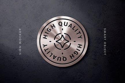 Aluminium-Oberflächen-Logo-Mockup
