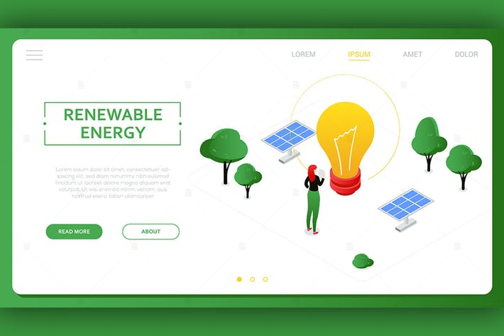 Thumbnail for Renewable energy - colorful isometric banner