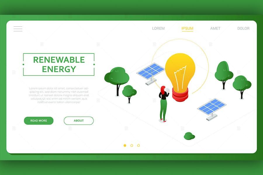 Renewable energy - colorful isometric banner