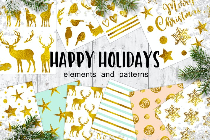 Happy Holidays Golden Christmas Design Kit