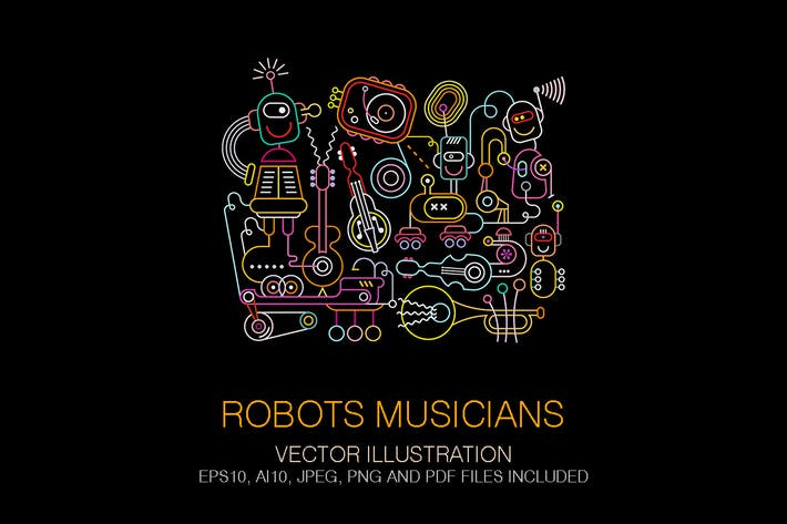 Thumbnail for Robots Musicians Concert Poster Neon Colors