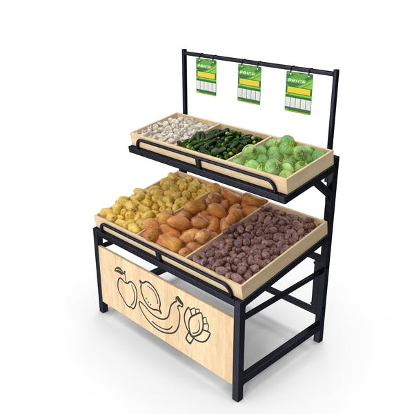 Wooden Display Rack with Vegetables