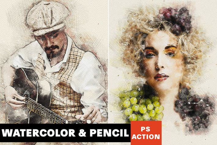 Thumbnail for Watercolor & Pencil Photoshop Action