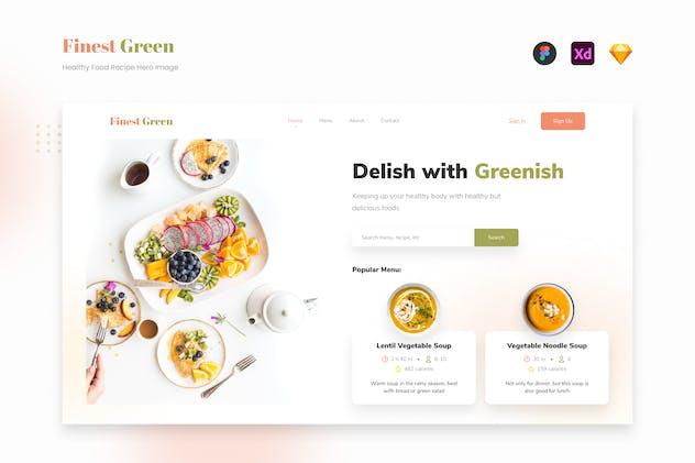 FinestGreen - Healthy Food Recipe Website Hero UI