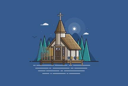 Wooden Marine Church on Pier