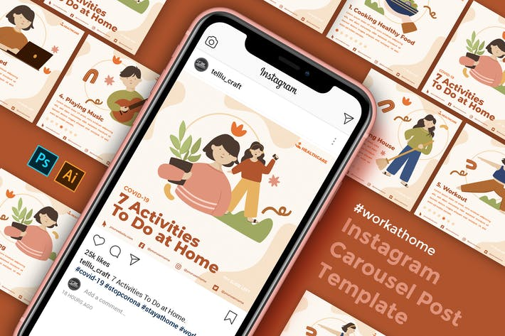 Thumbnail for Instagram Carousel Post Template - Home Activity