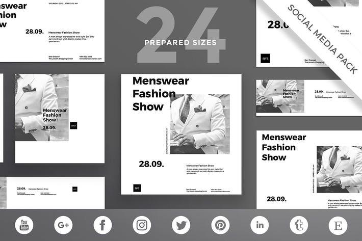 Menswear Show Social Media Pack Template