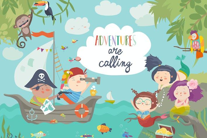Cover Image For Niedliche Piraten und schöne Meerjungfrauen. Vektor