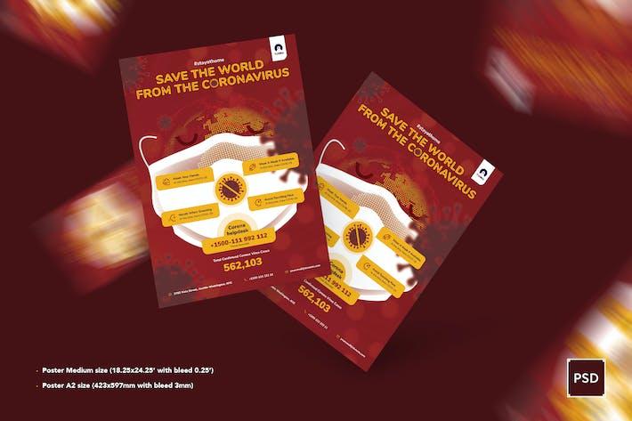 Thumbnail for Coronavirus sauver le monde Poster PSD Modèle