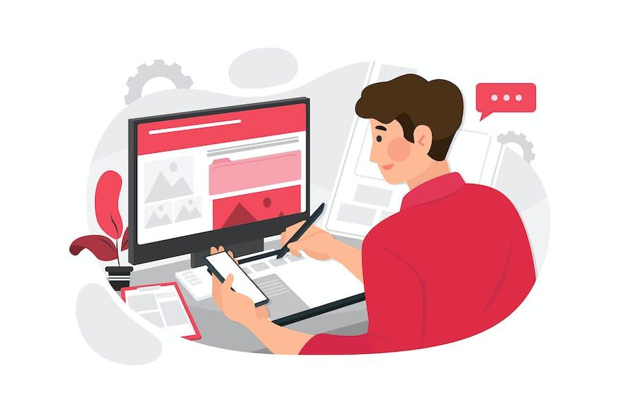 Webdesigner Planungsanwendung für Mobiltelefon