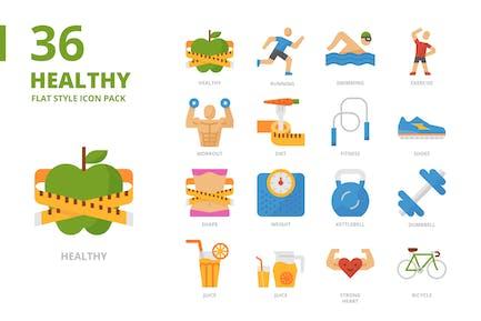 Conjunto de iconos de estilo plano saludable