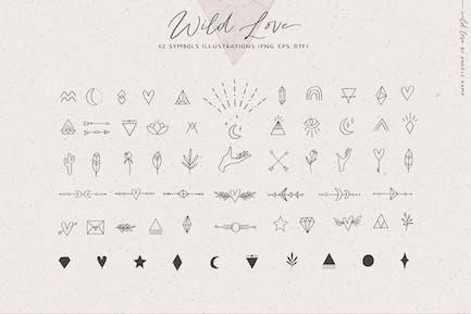 Símbolos de amor salvaje