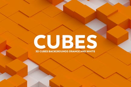 3D Cubes Backgrounds - Orange And White