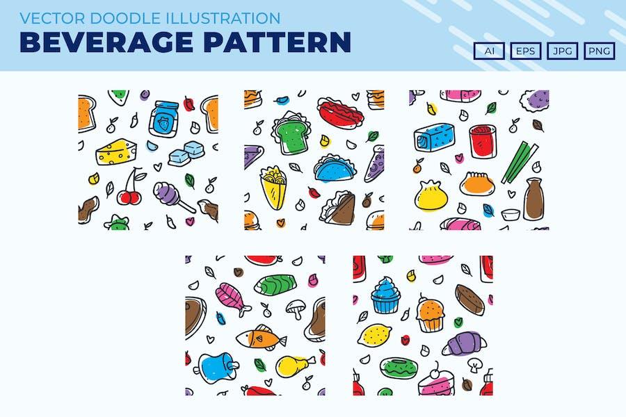 Food and Beverages doodle pattern