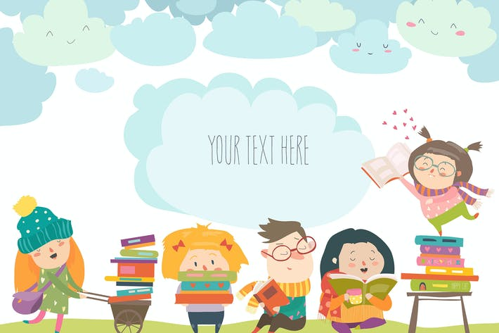 Cover Image For Group of cartoon children reading books. Vector
