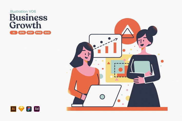 Thumbnail for Wachstum des Unternehmensgewinns Flache Illustration