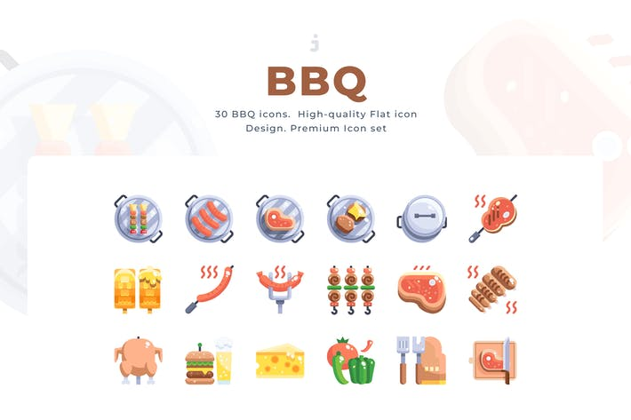 Thumbnail for 30 BBQ Icon set - Flat