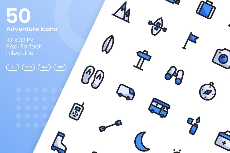 50 Adventure Icons Set - Filled Line