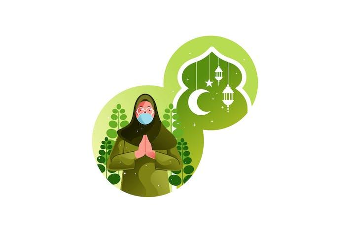 Mujer musulmana felicita a Ramadán en pandemia