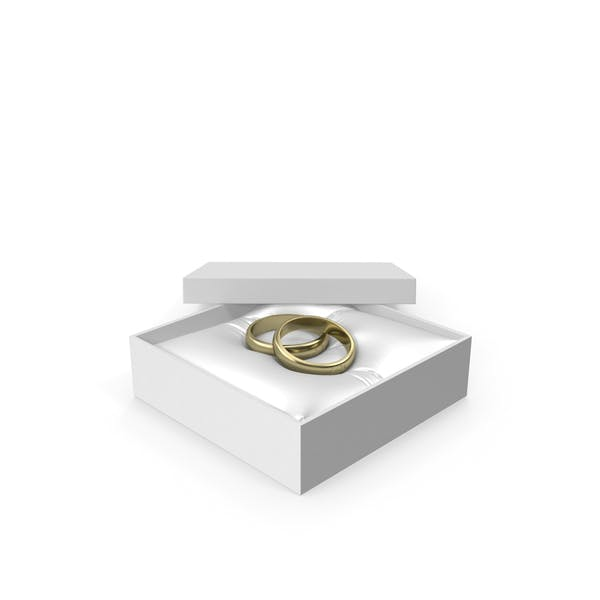 Wedding Gold Rings in a Gift White Box