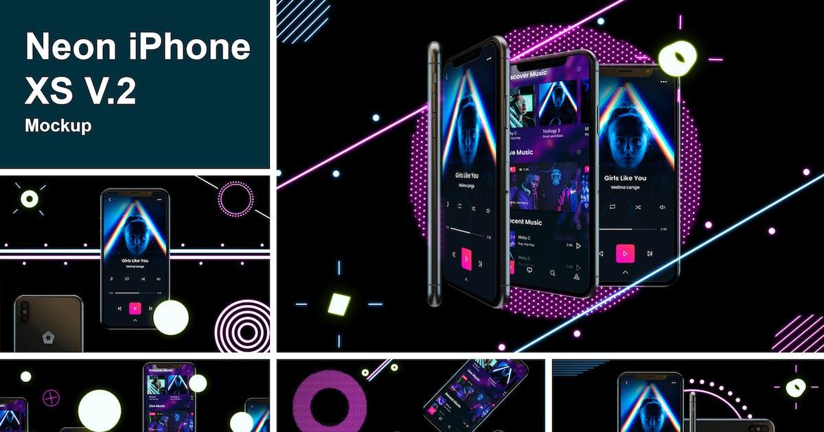 Download Neon iPhone XS V.2 Mockup by QalebStudio